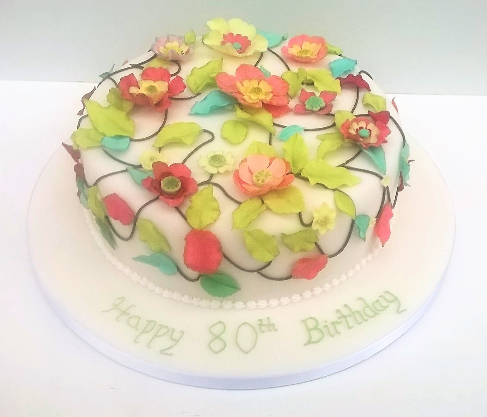 Fantasy Applique Flowers Leaves Birthday Cake By Cocoa Whey Cakes In Winchester
