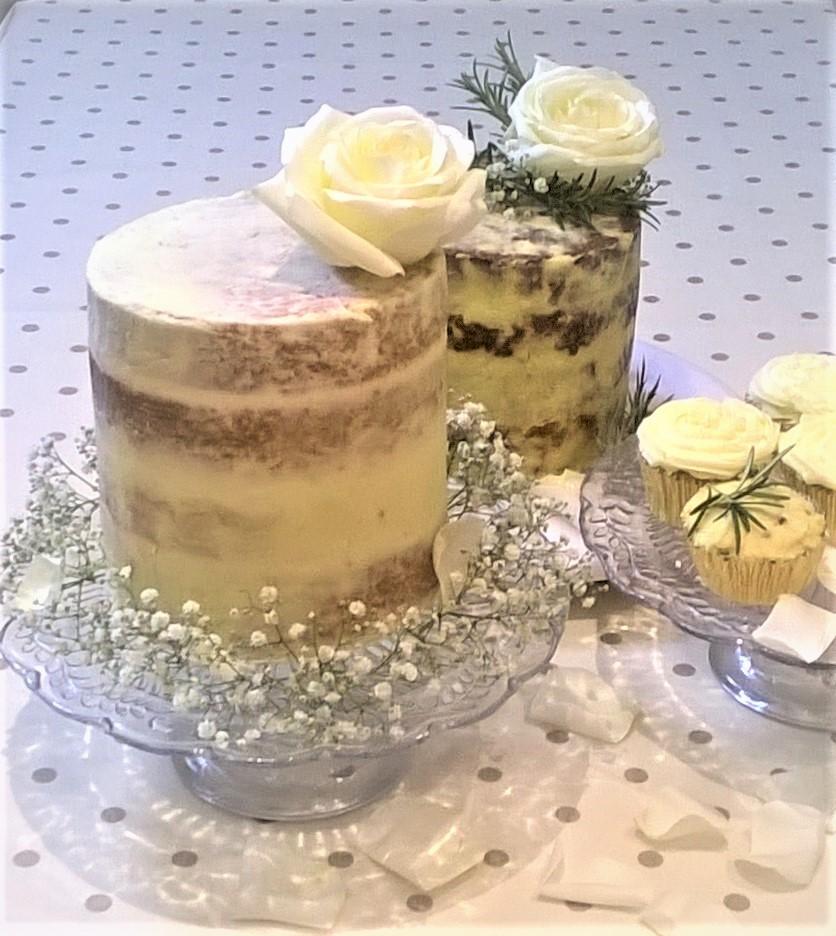Photo of semi-naked sweet and savoury wedding cakes