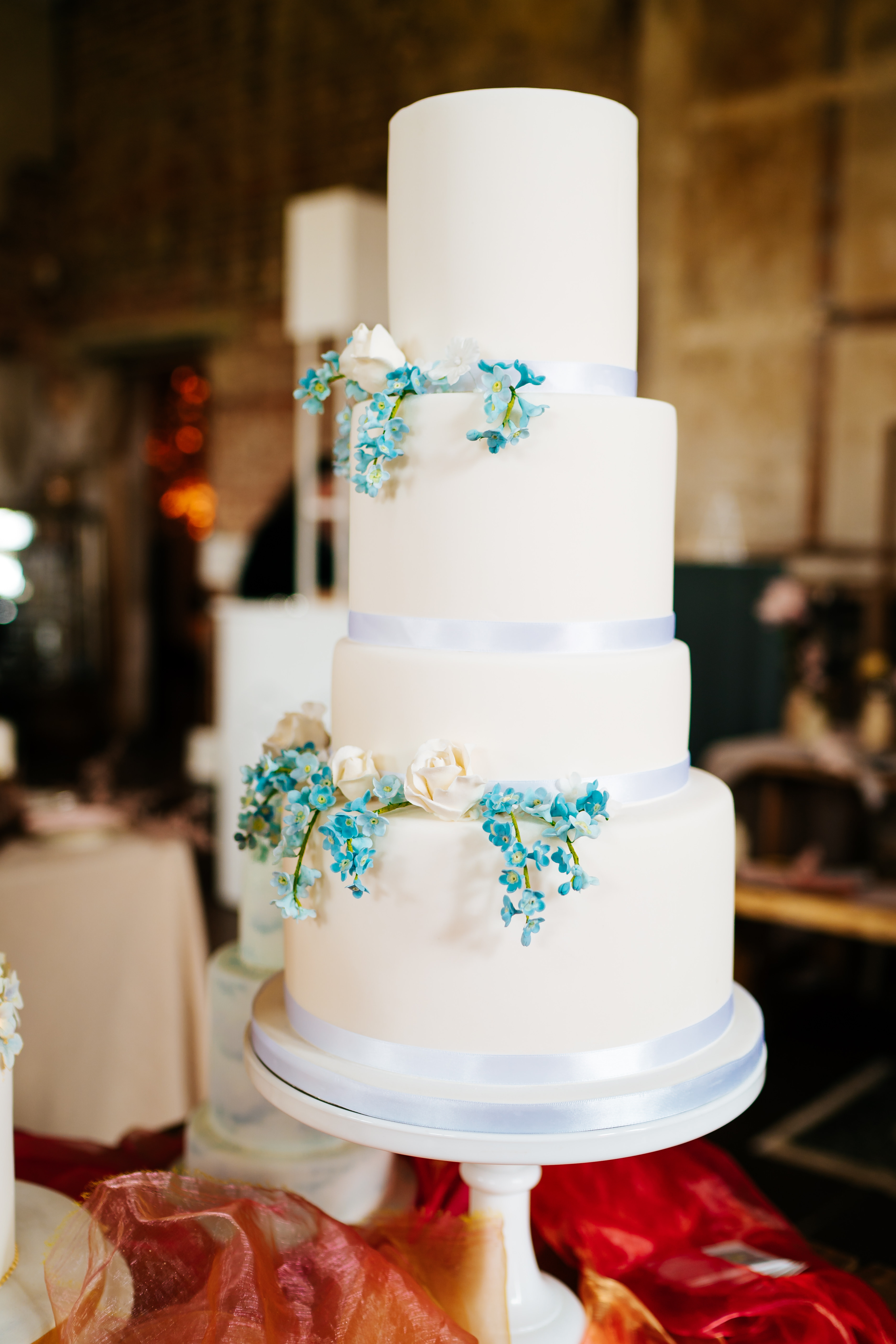 Forget Me Nots Wedding Cake with Photo Courtesy of Angela Ward-Brown Photography