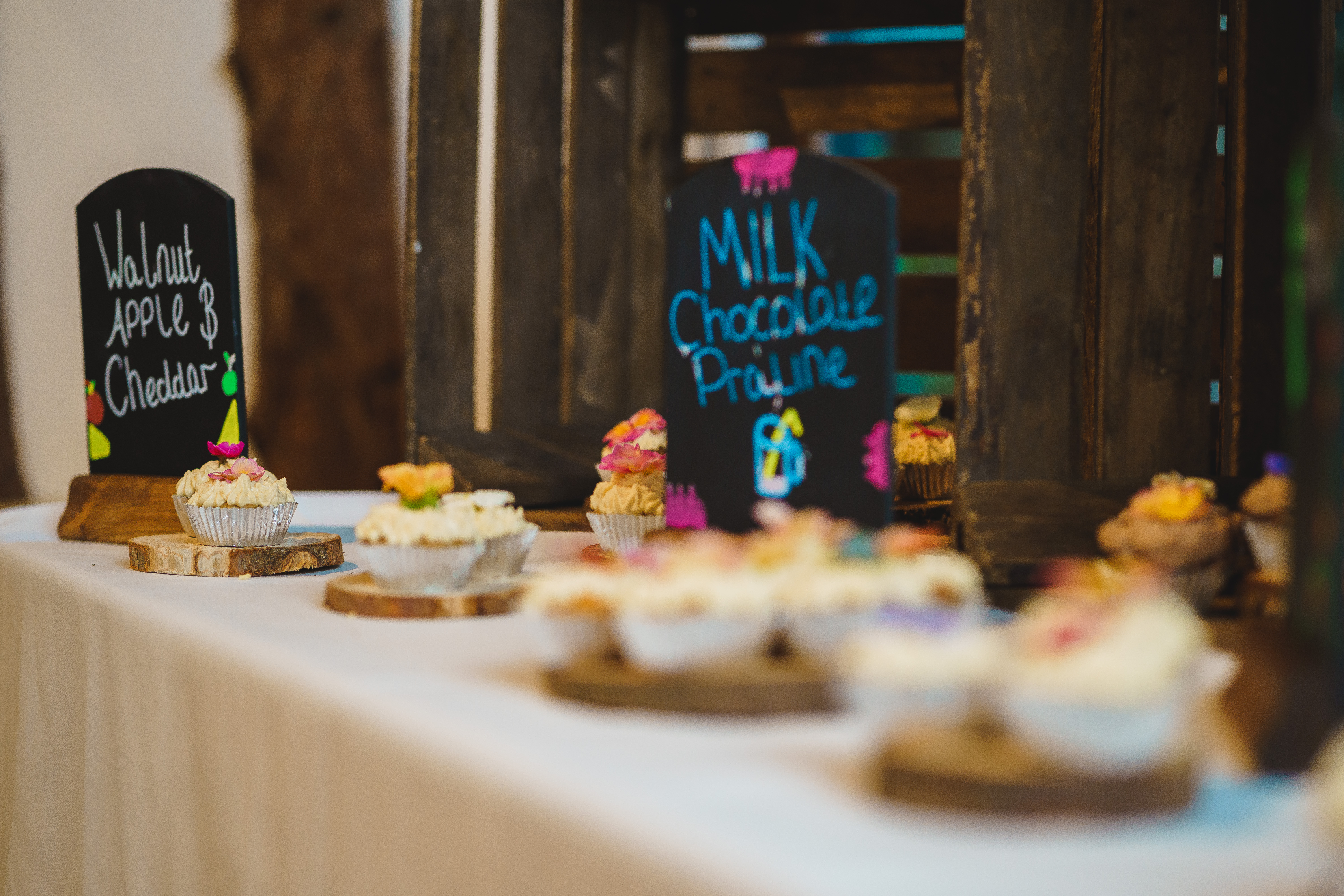 Sweet & Savoury Wedding Cupcakes with Edible Flowers. Photo courtesy of Michael from Jackson & Co Photography